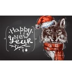Christmas wolf vector