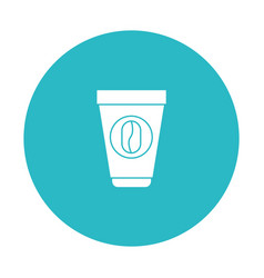 Circle light blue with disposable cup with hot vector