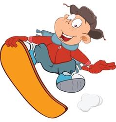 Cute Boy Snowboarding Cartoon vector image vector image
