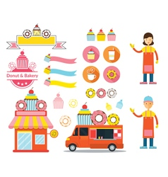 Donut and Bakery Shop Graphic Elements vector image vector image