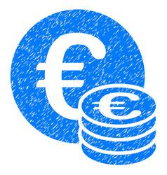 Euro coin stack grunge icon vector
