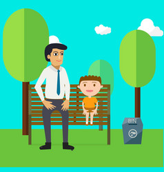 Family day with father and son cartoon characters vector