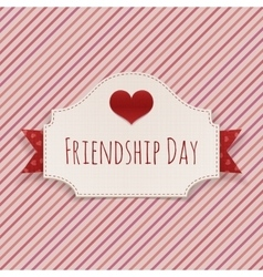 Friendship day paper card with text and heart vector