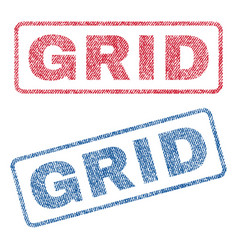 Grid textile stamps vector