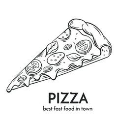 hand drawn pizza icon vector image