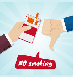Hand rejecting proposal smoke from pack in hand vector