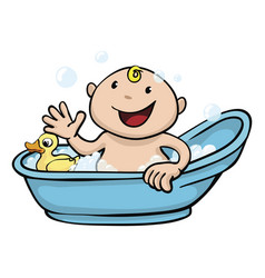 Happy cute baby bath time vector