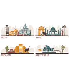 italy india mexico australia architectural vector image