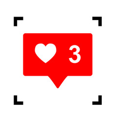 Like and comment sign red icon inside vector