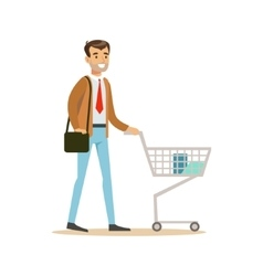 Man With Cart And Handbag In Department Store vector image