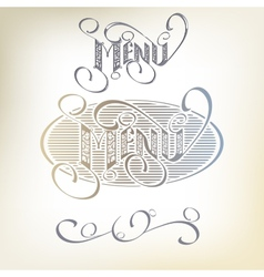 Menu headlines hand lettering vector image