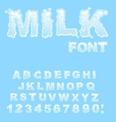 Milk alphabet white liquid letters fluid lettring vector