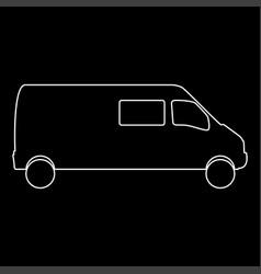 Minibus the white path icon vector