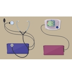 Modern and classic blood pressure measuring vector