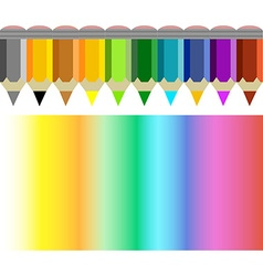 Pencil and coloured rainbow vector image vector image