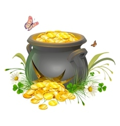 Pot with gold split Cracked pot of treasure vector image vector image
