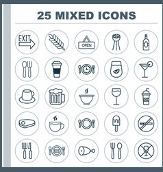 Restaurant icons set collection of ale wineglass vector