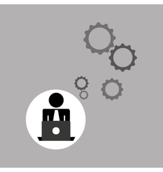 silhouette programmer working laptop gears vector image vector image