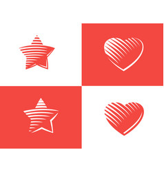star and heart icon vector image