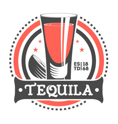 tequila shot vintage isolated label vector image vector image