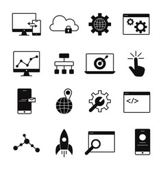web development line icons vector image vector image