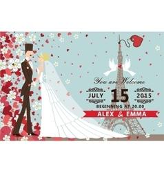 Wedding invitationBridegroom Hearts flowers vector image vector image