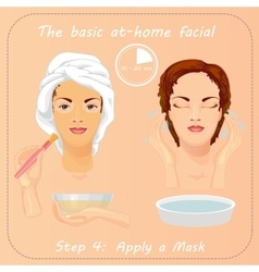 Young woman cares her face with mask Facial care vector image