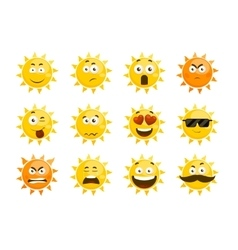 Smiling sun emoticons cartoon smile set vector