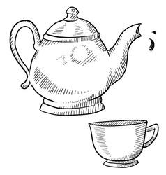 Doodle tea teapot cup drink vector