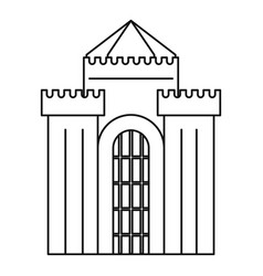 Fortress with gate icon outline style vector