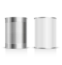 Metal tin set vector