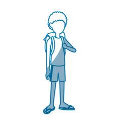happy teenage boy posing traveler vacation vector image