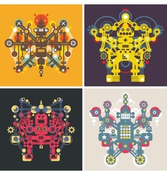 Set of colorful robots vector