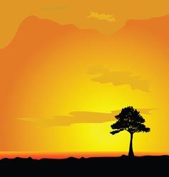 tree on desert vector image