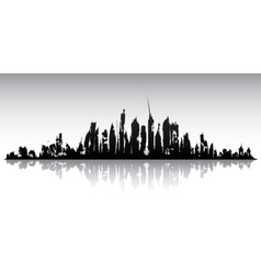 Skyline ruined city vector