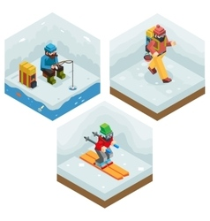 Winter activity vacation icons set journey ski ice vector