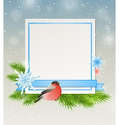Bullfinch and white sheet of paper vector image