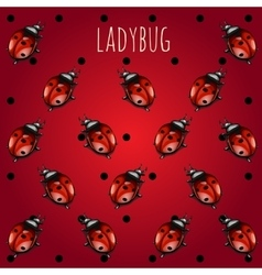 Red background with ladybug vector
