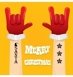 Santa claus rock n roll gesture icon vector