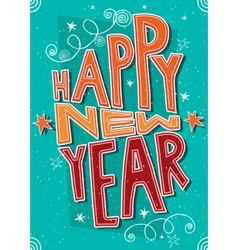 Handmade postcard happy new year vector