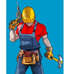 Cartoon man in a helmet with a drill with a hammer vector