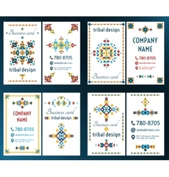 Set of cards with bright tribal geometric ornament vector