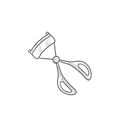 Eyelash curler sketch icon vector
