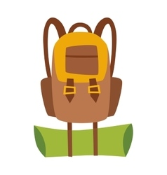 Flat hiking travel backpack bag vector