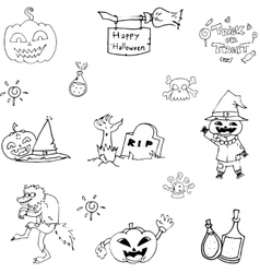 Doodle of character and object halloween vector
