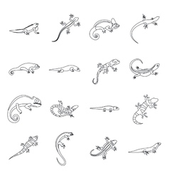 Lizard icons set outline style vector