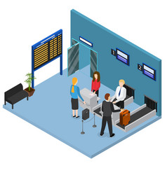 airport check in interior isometric view vector image