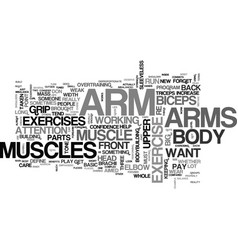 arm exercise text word cloud concept vector image