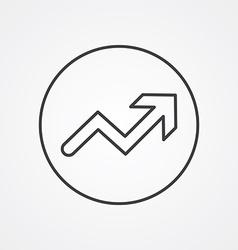 arrow up outline symbol dark on white background vector image vector image