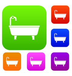 bathtub set collection vector image